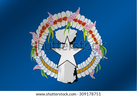 A 3D Wavy Flag Illustration of the country of  Marianas