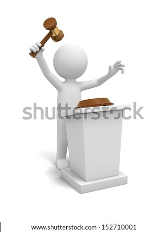 A 3d white people/ gavel/ stage /auction - stock photo