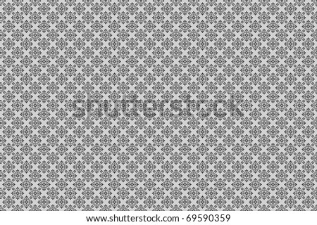 a damask pattern white and grey with flowers for modern background - stock photo