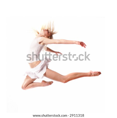 a dancer girl is doing some dance moves - stock photo