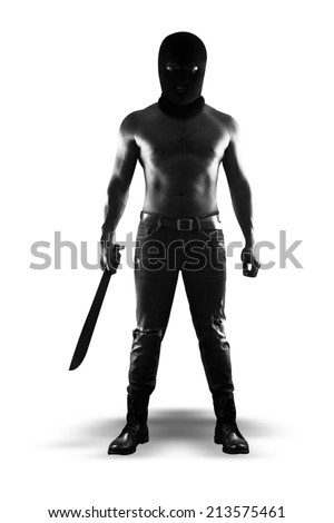 A dangerous man wearing a balaclava camouflage and holding knife standing isolated on white background with clipping path - stock photo