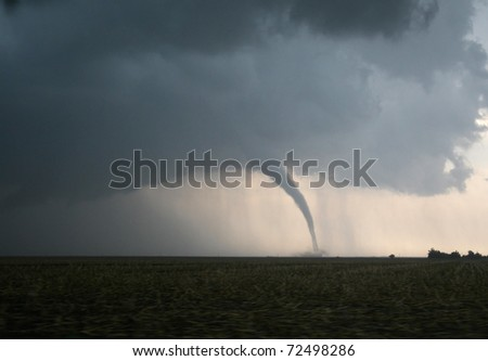 A dangerous tornado in tornado alley - stock photo