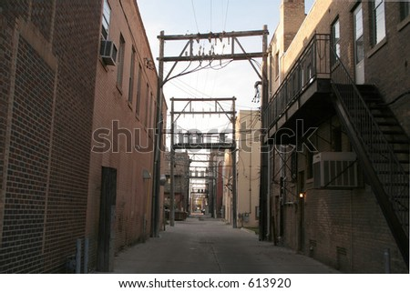 A dark Alleyway in a Downtown - stock photo