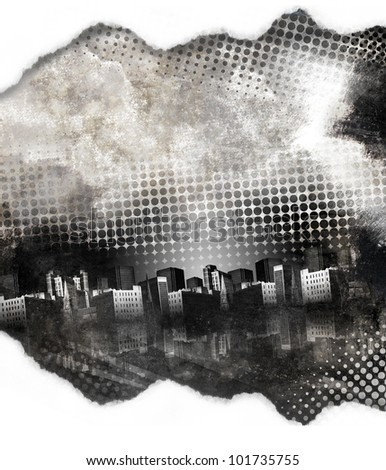 A dark black and white grunge city with aged texture and dots. There is a paper torn border at the top and bottom. Add your text in the copyspace. - stock photo