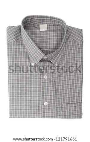 A dark check shirt isolated on white background.