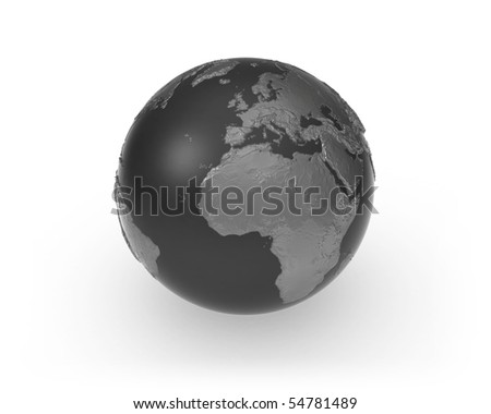 A dark earth globe made from different metals in front of a white background with soft shadow.