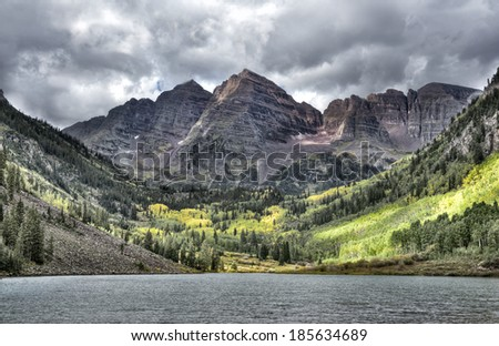 A dark gloomy day at Maroon Bells in Colorado Rocky Mountains
