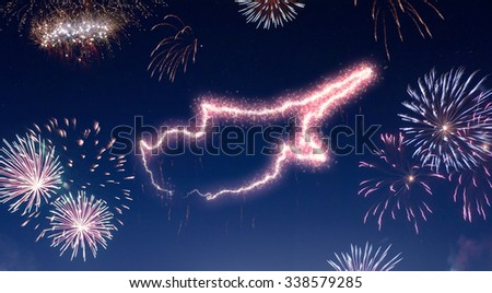 A dark night sky with a sparkling red firecracker in the shape of Cyprus composed into.(series) - stock photo