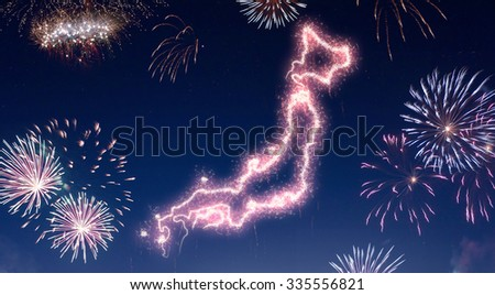 A dark night sky with a sparkling red firecracker in the shape of Japan composed into.(series) - stock photo