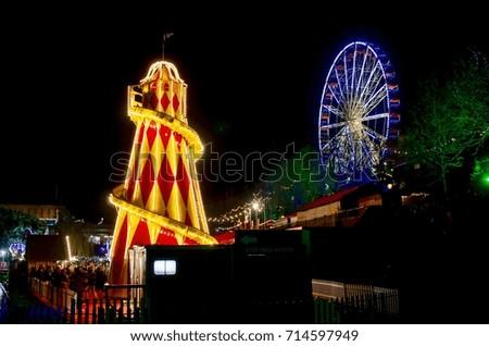 Amusement Park Night Berlin Stock Photo 40499518