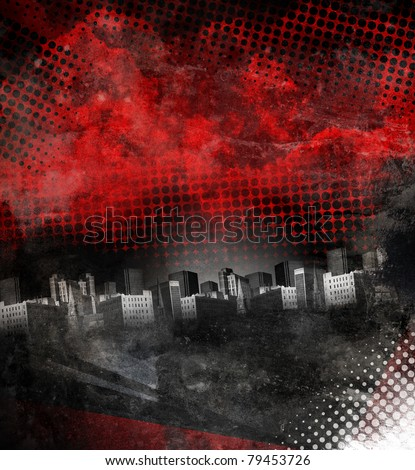 A dark red and black grunge city with aged texture. Add your text in the copyspace. - stock photo