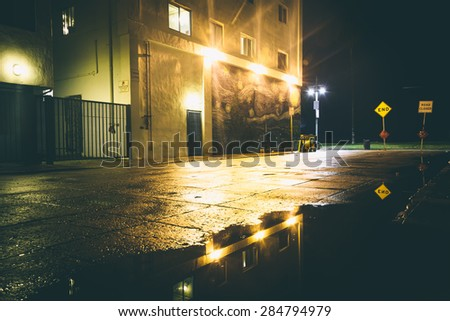 A dark street at night, in Venice Beach, Los Angeles, California.