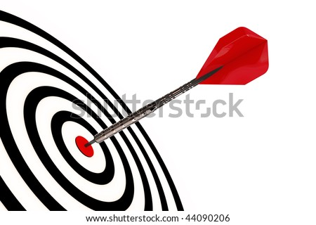 A dart arrow hits its target isolated with clipping path
