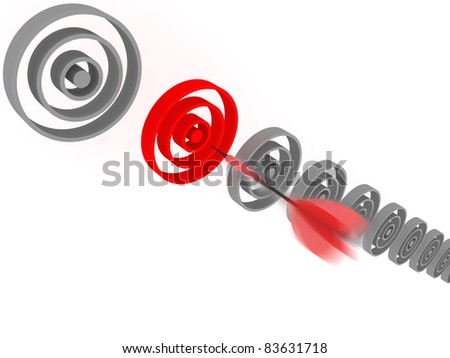 A dart flying toward a red target. CG illustration. - stock photo