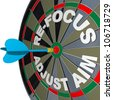 A dart hits a dartboard with the words Re-Focus and Adjust Aim to illustrate the need to change your approach to succeed in achieving a goal - stock