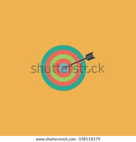 A dart is in the center of a dartboard. Target concept. Colored simple icon. Flat retro color modern illustration symbol