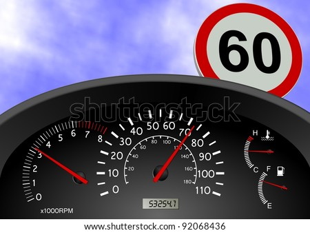A dashboard indicating a car speed over the limit / Speeding - stock photo