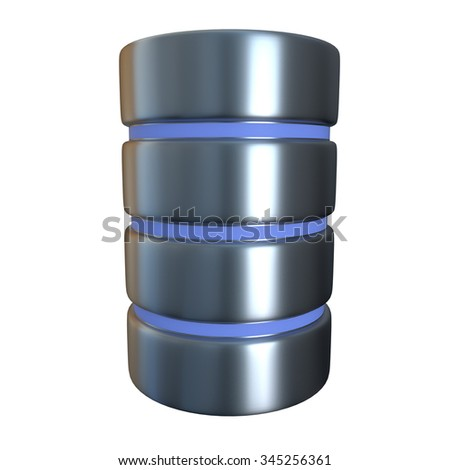 A database of the hard disk icon isolated on a white background. The concept of storage. 3d illustration. - stock photo