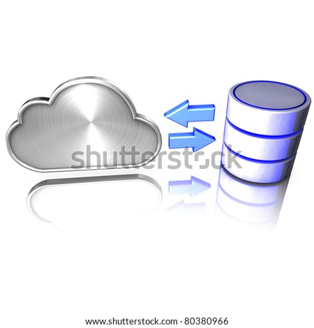 A database offers services to the cloud - stock photo