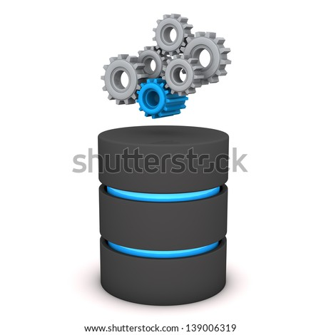 A database with gears on the white background. - stock photo