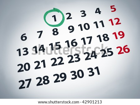 A date circled on a 1st day of a calendar with green ink. - stock photo