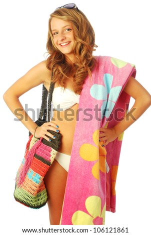A day at the sea - A young woman torn between the sea and shopping - 024 - stock photo