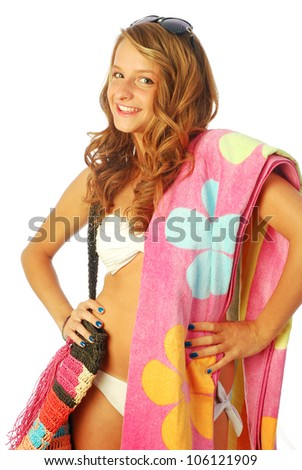 A day at the sea - A young woman torn between the sea and shopping - 025 - stock photo