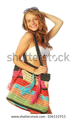 A day at the sea - A young woman torn between the sea and shopping - 014 - stock photo