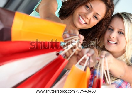 A day out shopping - stock photo