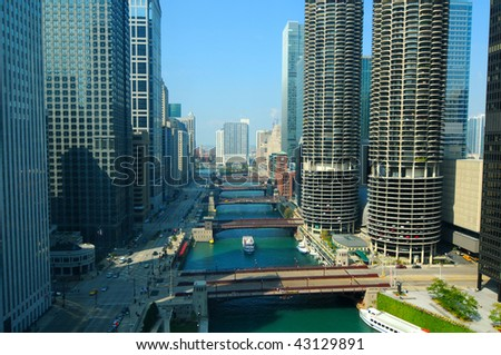 A daytime view of the Chicago River, seen from above - stock photo