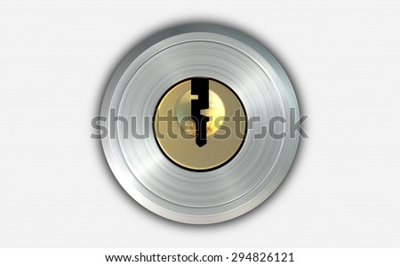 A dead bolt lock shield with an empty key slot on an isolated white studio background - stock photo