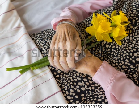 A dead woman with her hands folded on the stomach, holding daffodils - stock photo