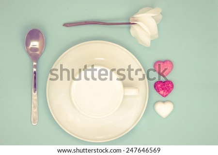 A decorated breakfast set for a lovely wake-up / Good morning my love retro - stock photo