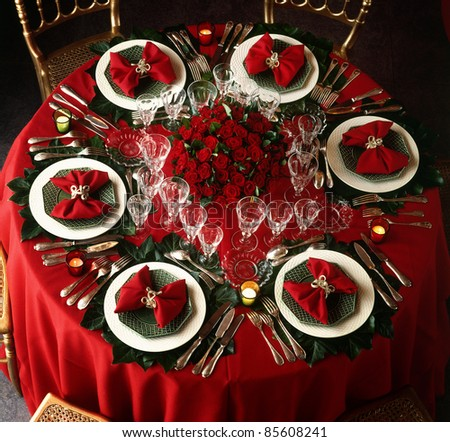 A decorated christmas dining table - stock photo