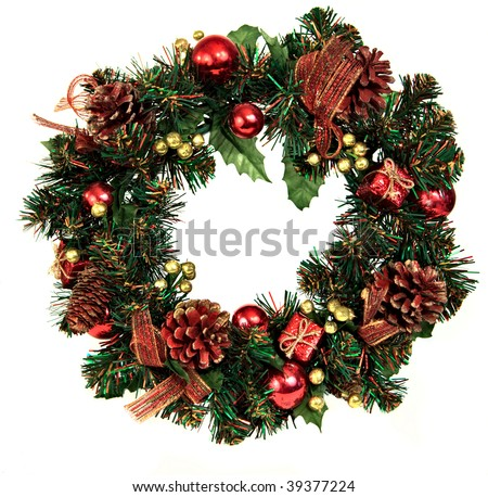 A decorated Christmas wreath with pinecones and ornaments - stock photo