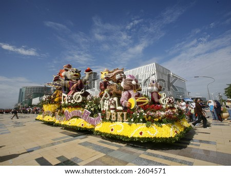 A decorated float during Floral Parade. - stock photo