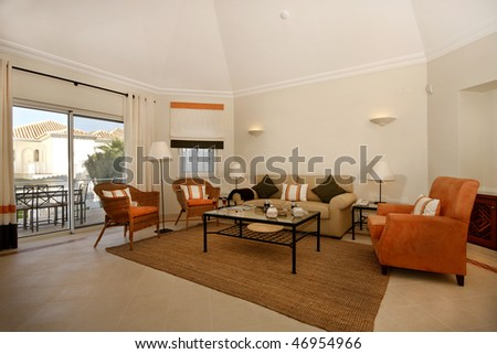 A decorated living room revealing good taste - stock photo