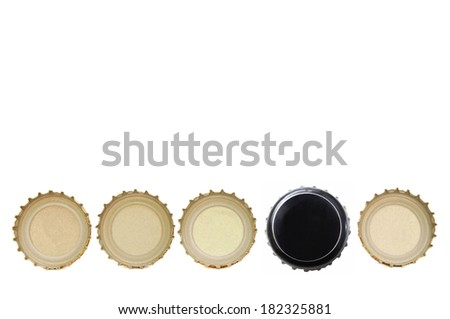 A decorating with beer cap row  - stock photo