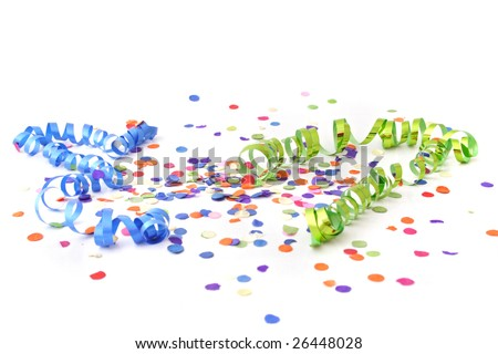 A decoration for a typical party atmosphere. All isolated on white background. - stock photo