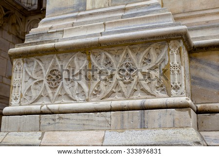 A decoration on famous gothic Milan cathedral in Italy