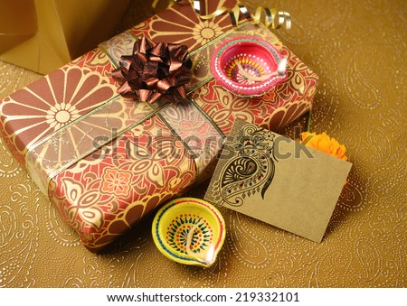 A decorative empty tag on a gift box - an indian festival objects. Horizontal Image - stock photo