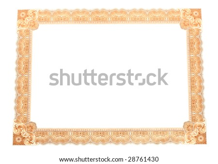 A decorative frame with a complex pattern of the corrugated thin lines. Isolated object.