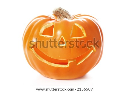 A decorative halloween pumpkin isolated on white - stock photo