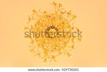 a decorative hanging light with branches for several light bulbs or candles. dim background. - stock photo