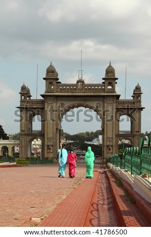 a decorative palace gateway in mysore southern india