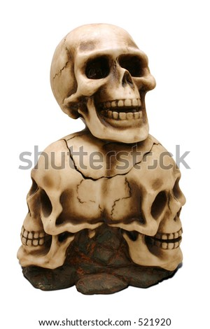 A decorative skull candle holder with path