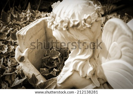 A decorative stone garden sculpture in the form of an angel or fairy reading a book while lying in a bed of ivy.  Sepia retro tint. - stock photo