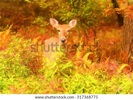 A deer in the colorful autumn foliage of the Poconos - transformed into a digital painting - stock photo