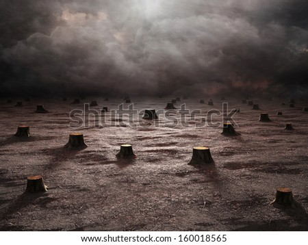 A deforested landscape - environmental degradation concept - stock photo