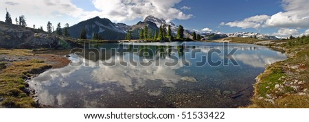 A 270 degree panorama view of Elfin lake in BC , Canada. - stock photo